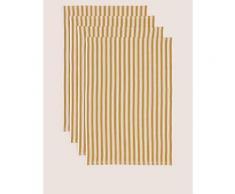 Marks & Spencer Set of 4 Basket Weave Tea Towels - Dark Ochre - One Size