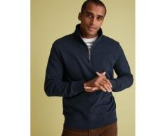 Marks & Spencer Pure Cotton Half Zip Funnel Neck Sweatshirt - Dark Navy - XL-STD