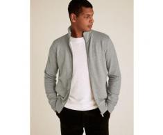 Marks & Spencer Pure Cotton Zip Up Funnel Neck Sweatshirt - Grey Marl - M-STD
