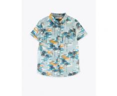 Marks & Spencer Chemise 100% coton à motif palmier (du 6 au 16ans) - Blanc - 14-15 ans