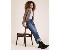Womens M&S Collection Body ajusté en coton à col cheminée - Grey
