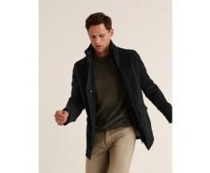 Marks & Spencer Moleskin Funnel Neck Overcoat - Black - S