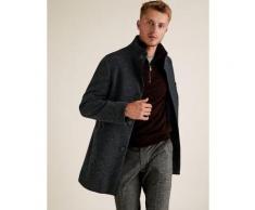 Marks & Spencer Funnel Neck Overcoat - Navy Marl - L-REG