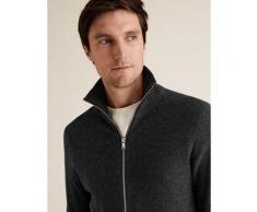 Marks & Spencer Cotton Ribbed Funnel Neck Zip Up Cardigan - Charcoal - XXXL-REG