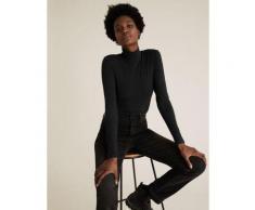 Womens M&S Collection Body ajusté en coton à col cheminée - Black