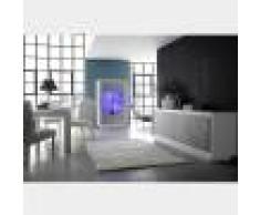 NOUVOMEUBLE Salle à manger design blanc laqué mat et couleur béton ERINE 7