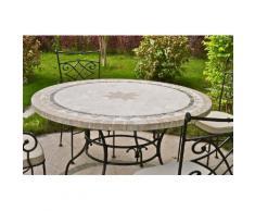 Table de jardin ronde pierre mosaA¯que marbre 90-125-160 MEXICO