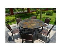 Table de jardin ronde mosaique d'ardoise multicolor 125-160 OCEANE