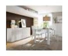 Kasalinea Salle à manger complète blanc laqué brillant NEWLAND