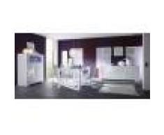 Kasalinea Salle à manger complète blanc laqué design ELEONORE avec éclairage