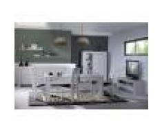 Kasalinea Salle à manger complète couleur chêne gris contemporaine SANDRA avec éclairage