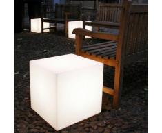 CUBO-Cube lumineux d'extérieur H60cm Blanc Slide