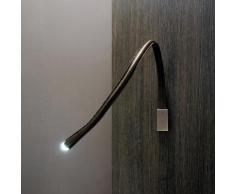 FLEXILED-Applique/liseuse flexible Cuir/Nickel avec interrupteur L60cm chocolat Contardi - designé par King & Roselli