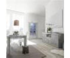Kasalinea Salle à manger complète moderne couleur gris béton MABEL 2-L 185 x P 90 x H 79 cm- Gris Gris