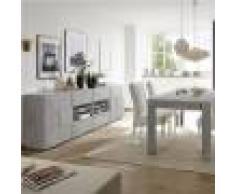 Kasalinea Salle à manger grise effet béton design DOMINOS 4-L 185 x P 90 x H 79 cm- Gris Gris