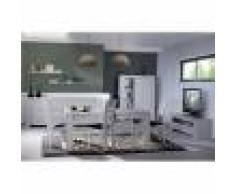 Kasalinea Salle à manger complète couleur chêne gris contemporaine SANDRA-L 130 x P 45 x H 162 cm- Gris Gris