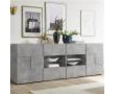 Kasalinea Enfilade 240 cm design grise effet béton DOMINOS 4-L 241 x P 42 x H 84 cm- Gris Gris