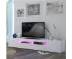 M-063 Meuble TV blanc laqué design MARCELLA-L 200 x P 40 x H 36,2 cm- Blanc Blanc