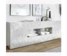 Kasalinea Enfilade 2 portes 4 tiroirs design blanc laqué NINO-L 241 x P 42 x H 84 cm- Blanc Blanc