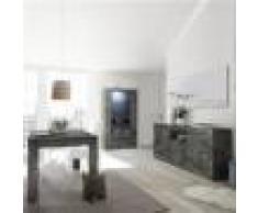Kasalinea Salle a manger complète gris anthracite moderne MABEL-L 185 x P 90 x H 79 cm- Gris Gris