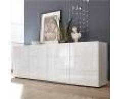 Kasalinea Enfilade 240 cm design blanc laqué NERINA-L 241 x P 42 x H 84 cm- Blanc Blanc