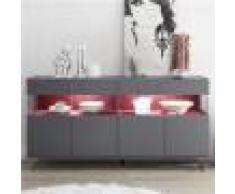 Kasalinea Enfilade 4 portes avec LED design gris et rouge PALERMO 5-L 184 x P 50 x H 101 cm- Gris Gris