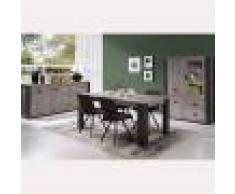 M-027 Salle à manger complète contemporaine couleur bois gris MELANY-L 180 x P 98 x H 78,5 cm- Gris Gris