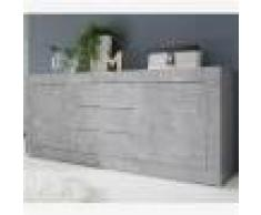 Kasalinea Enfilade 210 cm design gris effet béton ARIEL 4-L 210 x P 43 x H 86 cm- Gris Gris