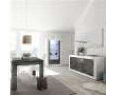 Kasalinea Salle a manger complete blanche et grise moderne MABEL 6-L 185 x P 90 x H 79 cm- Gris Gris