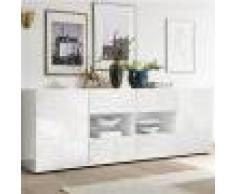 Kasalinea Enfilade 240 cm blanc laqué design NERINA-L 241 x P 42 x H 84 cm- Blanc Blanc