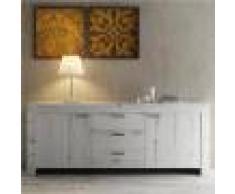 Kasalinea Enfilade contemporaine couleur chêne blanchi ROMANE 2-L 210 x P 43 x H 83 cm- Blanc Blanc
