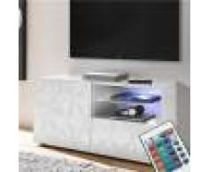 Kasalinea Meuble TV lumineux 120 cm blanc laqué design NINO-L 122 x P 42 x H 57 cm- Blanc Blanc