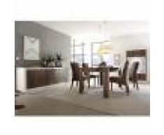 Kasalinea Salle à manger complète blanc laqué mat et couleur bois MARCEAU-L 106 x P 50 x H 171 cm- Marron Marron