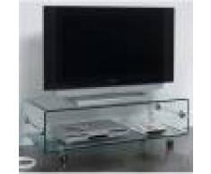 Kasalinea Meuble TV en verre transparent design CANDY-L 100 x P 50 x H 35 cm- Transparent Transparent
