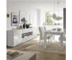 Kasalinea Salle a manger design blanc laqué buffet 241 cm NERINA-L 180 x P 90 x H 79 cm- Blanc Blanc