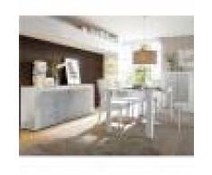 Kasalinea Salle à manger complète blanc laqué brillant et béton BROOKLYN-L 92 x P 42 x H 125 cm- Gris Gris