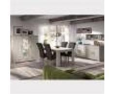 M-027 Salle à manger complète contemporaine couleur bois clair OPALINE-L 180 x P 90 x H 78 cm- Gris Gris