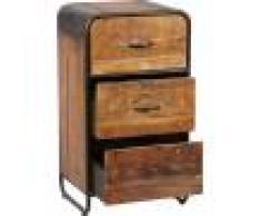 Chiffonnier industriel métal et bois aspect vieilli 3 tiroirs
