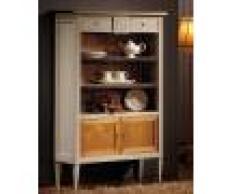 Petite étagère de rangement merisier laquée 2 tiroirs 2 portes P