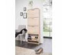 Terre de Nuit Meuble à chaussures 4 tiroirs en bois imitation chêne - MC7042