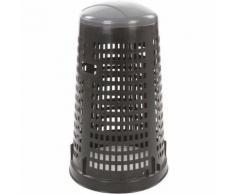 poubelle d'extérieur ronde en plastique perforé ruff 110l noir gris
