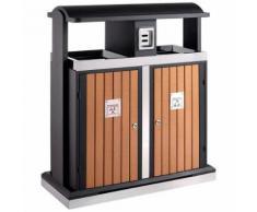 poubelle d'extérieur tri sélectif 2x50l bois