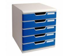 module classement 5 tiroirs coloris bleu