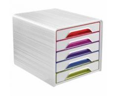 bloc de classement 5 tiroirs smoove happy - multicolore