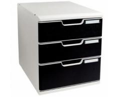 module classement 3 tiroirs coloris noir
