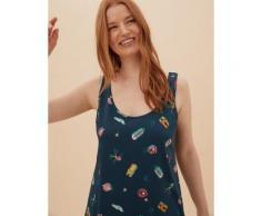 Womens M&S Collection Chemise de nuit courte 100 % coton à imprimé piscine - Dark Airforce
