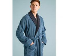 Marks & Spencer Pure Cotton Towelling Dressing Gown - Blue Mix - M