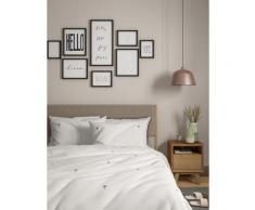 Parure de lit 100 % coton à motif palmier brodé - White Mix