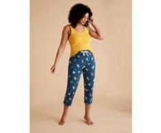 Womens M&S Collection Bas de pyjacourt 100 % coton à imprimé piscine - Dark Airforce