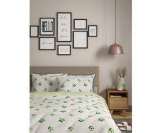 Parure de lit en coton à motif pot de fleur - White Mix